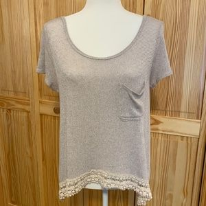 Hollister Lace Hem Scoop Neck High Low Shirt